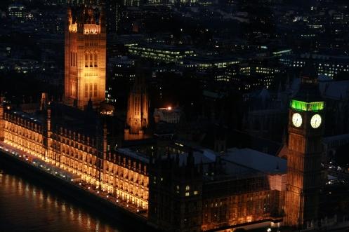 Parliament, London Eye, after sunset